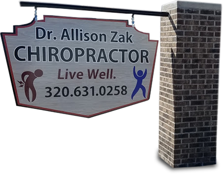 Welcome sign in front of Allizon Zak Chiropractic's office in Little Falls, MN